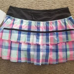 Size 8 Pace Setter multi plaid pink skirt